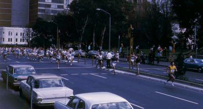 The first runners coming past what is now the start area on Park Street