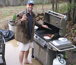 A BBQ in the rain on Boxing Day - but I was the only one that got wet!